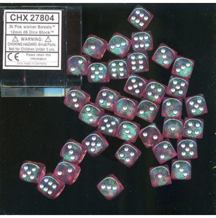 Borealis 12mm d6 Pink/silver Dice Block (36 dice)