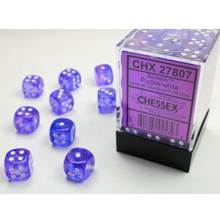 Borealis 12mm d6 Purple/white Dice Block (36 dice)