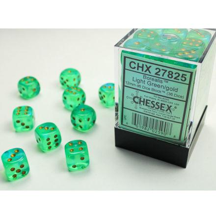 Borealis 12mm d6 Light Green/gold Dice Block (36 dice)