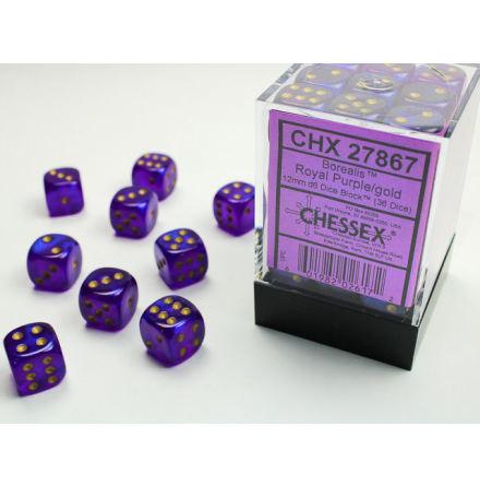 Borealis 12mm d6 Royal Purple/gold Dice Block (36 dice)