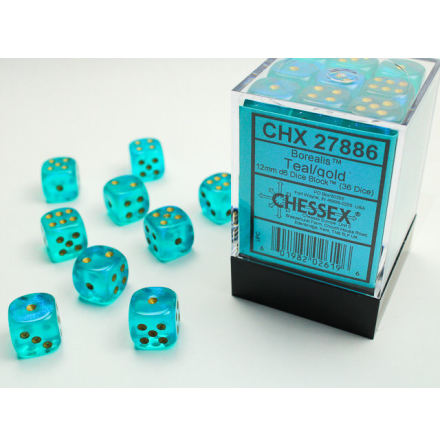 Borealis 12mm d6 Teal/gold Dice Block (36 dice)