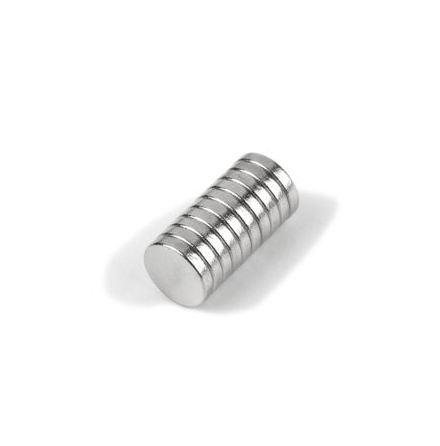 Disc Magnet diameter 5 mm, höjd 1 mm (10st) Nickelpläterad 290g styrka