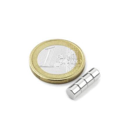Disc Magnet diameter 5 mm, höjd 3 mm (10st) Nickelpläterad 700g styrka