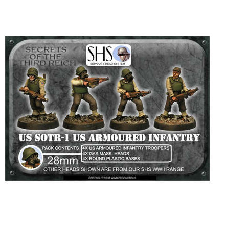 US Armoured Infantry 1 (SHS) Gas Mask Heads (4)