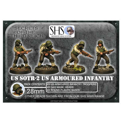 US Armoured Infantry 2 (SHS) Gas Mask Heads (4)