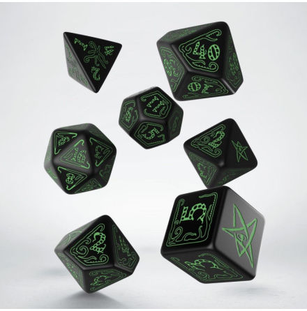 Call of Cthulhu Dice Set Black/Green (7)