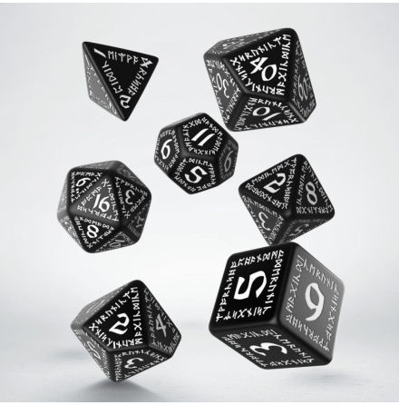 Runic Dice Set Black/White (7)