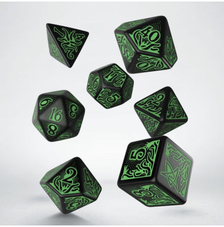 Call of Cthulhu Dice Set Black/Green 7th Edition (7)