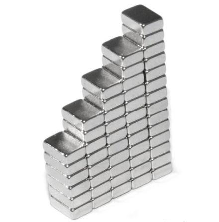Block magnet 6 x 4 x 2 mm (10st) Nickelpläterad 640g styrka (OBS! Farlig att svä