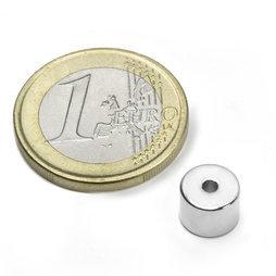 Ring Magnet diameter 8/2 mm, höjd 6 mm (10st) Nickelpläterad 2400g styrka