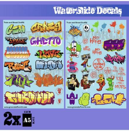 Waterslide Decals - Train and Graffiti Mix