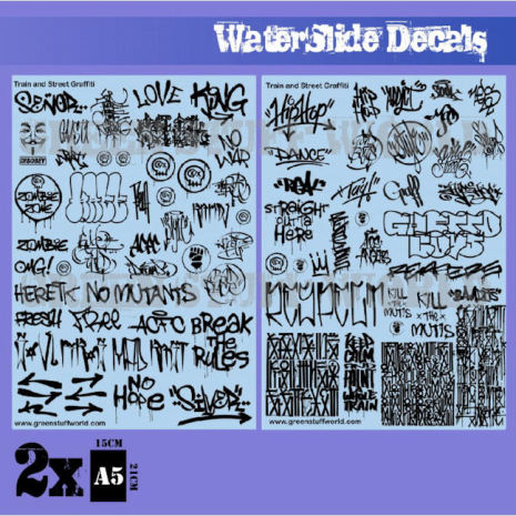 Waterslide Decals - Train and Graffiti Mix - Black