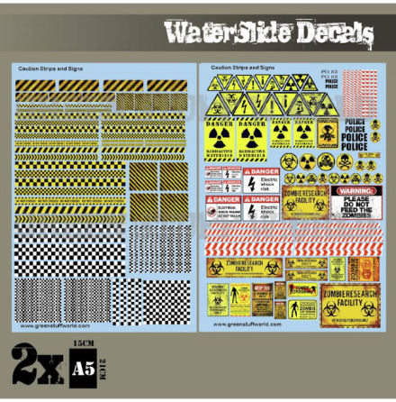 Waterslide Decals - Caution Strips and Signs