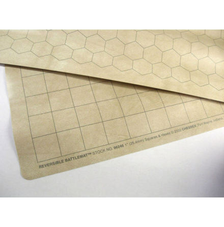 Reversible Battlemat 1inch squares and 1 inch hexes (23,5 x 26 inch)