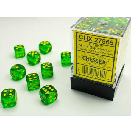 Borealis 12mm d6 Maple Green/silver Dice Block (36 dice)