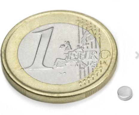Disc Magnet diameter 3 mm, höjd 1 mm (20st) Nickelpläterad 210g styrka