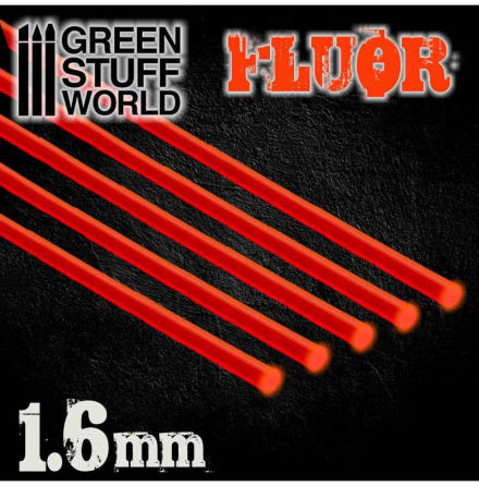 Acrylic Rods - Round 1.6 mm Fluor RED-ORANGE