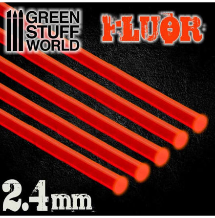Acrylic Rods - Round 2.4 mm Fluor RED-ORANGE