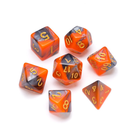 Marble Series: Orange & Grey - Numbers: Gold