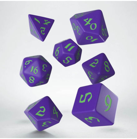 Classic Runic Purple & Green Dice Set (7)