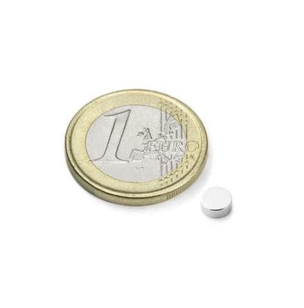 Disc Magnet diameter 5 mm, höjd 2 mm (10st) Nickelpläterad 680g styrka