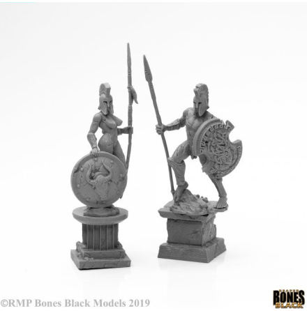 AMAZON AND SPARTAN LIVING STATUES (STONE)