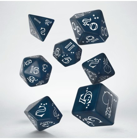 Shimmering Llama Dice Set (Glittering dark blue & white)