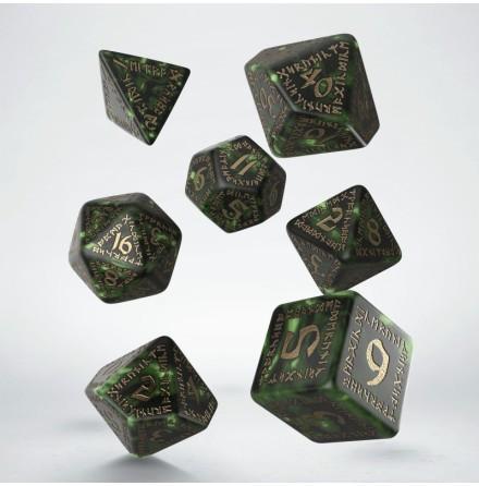 Runic Bottle-green & gold Dice Set (7)