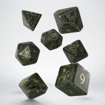 Runic Bottle-green & gold Dice Set (7)