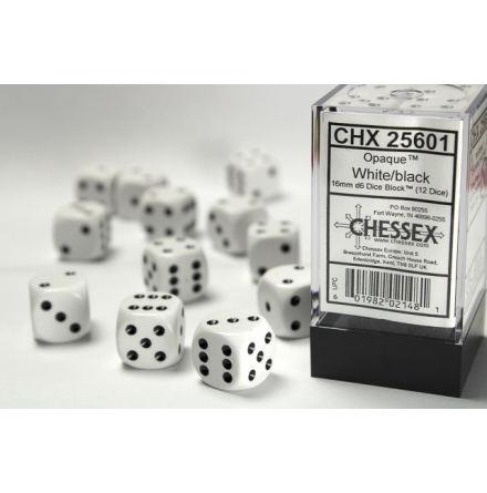 Opaque 16mm d6 White/black Dice Block (12 dice)