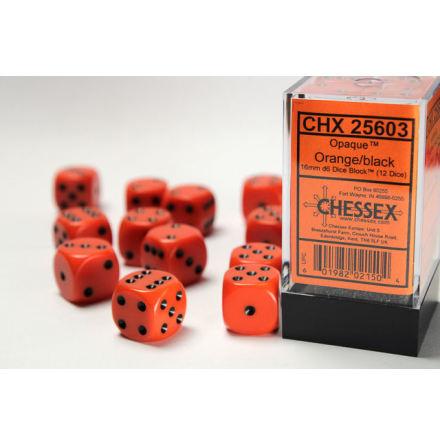 Opaque 16 mm d6 Orange/black dice block (12)