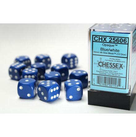 Opaque 16mm d6 Blue/white Dice Block™ (12 dice)