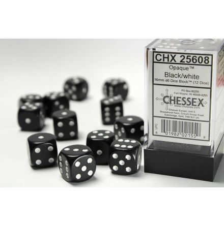 Opaque 16mm d6 Black/white Dice Block (12 dice)