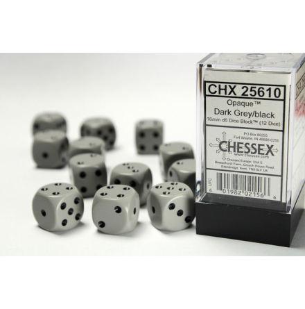 Opaque 16mm d6 Grey/black Dice Block (12 dice)