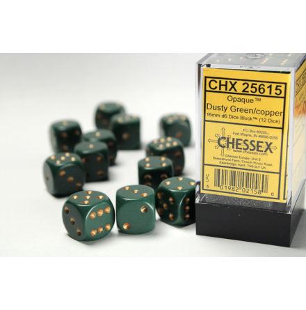 Opaque 16mm d6 Dusty Green/gold Dice Block (12 dice)