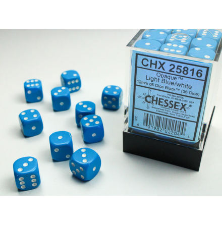 Opaque 12mm d6 Light Blue/white Dice Block™ (36 dice)