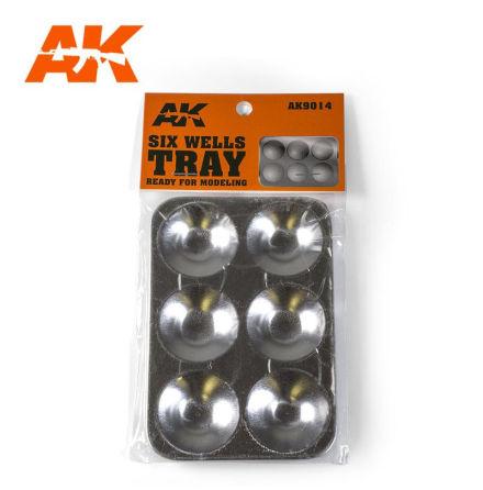AK 9014 Aluminum 6 Wells Paint Tray