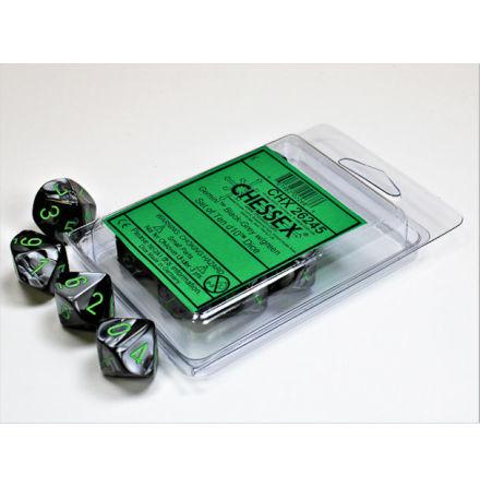 Gemini Black-Grey w/green Set of Ten d10s