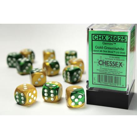 Gemini 16mm d6 Gold-Green w/white Dice Block (12 dice)