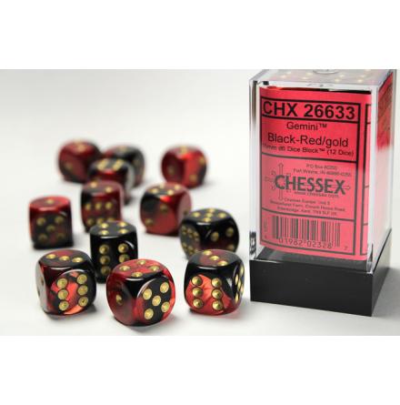 Gemini 16mm d6 Black-Red w/gold Dice Block (12 dice)