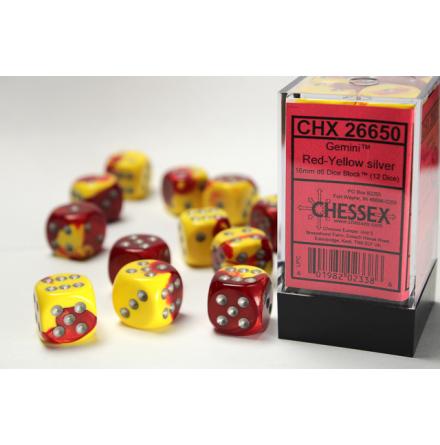 Gemini 16mm d6 Red-Yellow w/silver Dice Block (12 dice)